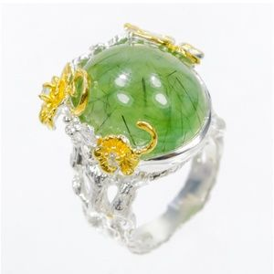 Gorgeous unique prehnite fine art ring size 9